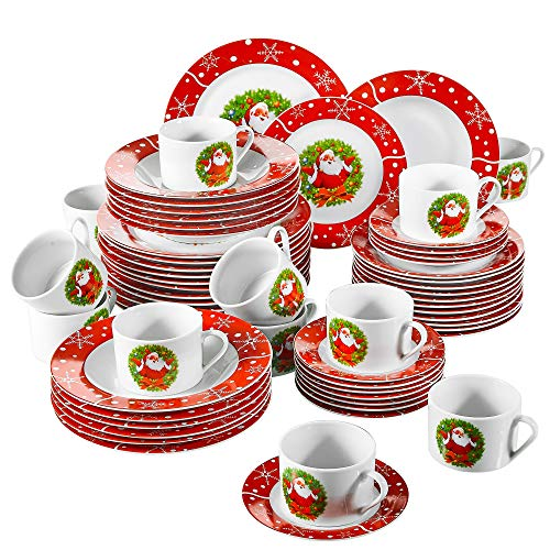 SANTACLAUS, 60 Pièces Plates, en Porcelaine, 12 Assiettes...