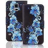 Numerva Nokia Lumia 530 Hülle, Schutzhülle [Design Bookstyle Handytasche Motiv] PU Leder Tasche für Nokia Lumia 530 Wallet Case Flip-Cover [QJC-337 Blau]