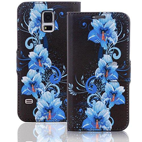 Numerva HTC Desire 510 Hülle, Schutzhülle [Design Bookstyle Handytasche Motiv] PU Leder Tasche für HTC Desire 510 Wallet Case Flip-Cover [QJC-337 Blau]