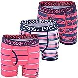 3 Pack Mens Crosshatch Designer Boxer Shorts Boxers Underwear Trunks Gift Set