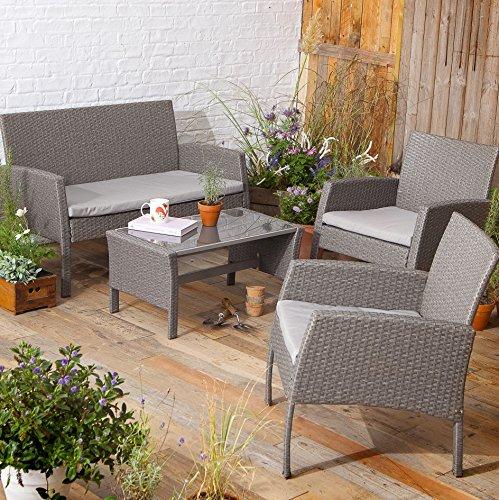 New Tesco San Marino 4 Piece Rattan Garden Lounge Set Table Bench 2 Chairs Garden Rattan