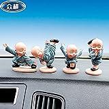 Ocamo Kung fu Little Monk Doll,Decoración para Auto Tablero de Coche,Ornamento de Regalo de Juguete,4 Piezas/Grupo