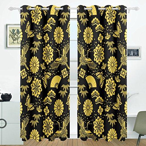 COOSUN Golden Powder und japanische Kräne Blackout Vorhänge Verdunkelung thermische isoliert Polyester Tülle Vorhang Vorhang für Schlafzimmer, Wohnzimmer, 2 Panel (55 x 84 l Zoll) (84 Tülle Oben Vorhänge)