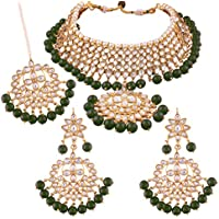 I Jewels Traditional Kundan & Pearl Choker Necklace Set for Women (K7058G)
