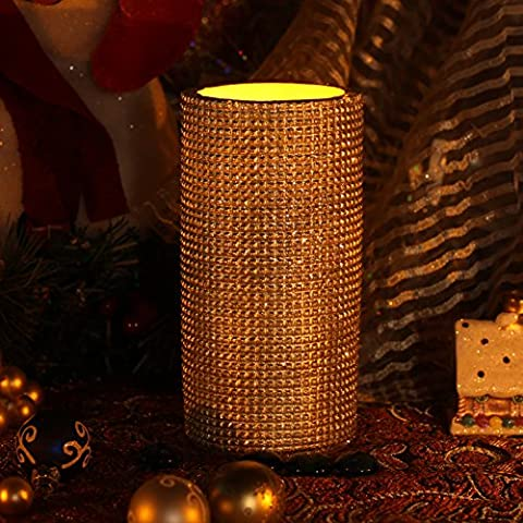 Gold Candle with Timer ,Flameless Candles,Battery Operated,3x6 Inches