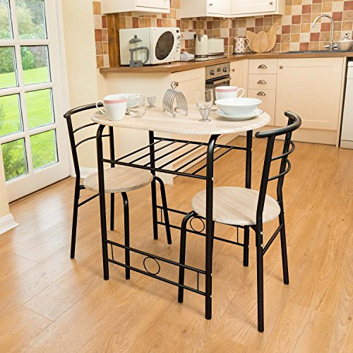 3 Piece Dining Set Breakfast Bar Kitchen Table Chairs Christow Furniture