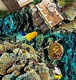 Wapel Fototapete 3D Wandtapete Benutzerdefinierte Größe Tapeten 3D Boden Wasserdichte Tapete Turtle Coral Ocean Tropische Fische 3D Stereoskopischen Bodenbelag Fliesen Wandbild Für Wohnzimmer 160x120cm