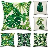 JOTOM Fodera per cuscino Cotone Lino Fodere per cuscini Federa Divano Auto Cuscino Home Bed Decor 45 x 45 cm, Set di 6 (Foglia verde)