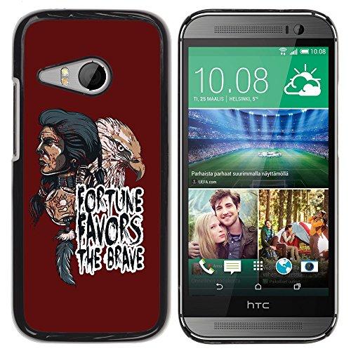 [ For HTC ONE MINI 2 / M8 MINI ][ Xtreme-Cover ][ Hart Rückseite Schutzhülle Case ] - Fortune Favors The Brave - Indian Native American & Eagle -