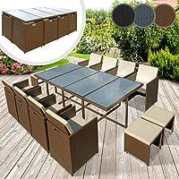 Miadomodo – Juego de muebles de poliratán para jardín (13 pizeas) – 1 mesa de comedor, 8 sillas, 4 taburetes y 18 cojines de asiento – colores a elegir