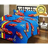 TRUSTFUL McQueen Car Cartoon Kids Design Print Single Bed Reversible AC Blanket | Dohar | Quilt | Comforter | Duvet (Polycotton, Multicolor)