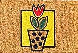 Faba Home Kokos Fußmatte Kokosvelour Schmutzfang, Tulpe im Blumentopf, sehr robust, wetterfeste Türmatte, Fußabtreter 75 x 45 x 2 cm (+/-2cm)