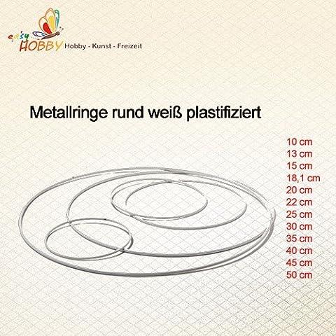 Metallring rund weiß plastifiziert (8 cm), 5 Stück