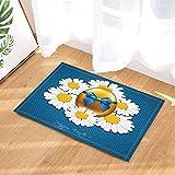 fdswdfg221 Ostern-Badteppiche goldenes gemaltes Ei mit blauem Band und weißer Chrysantheme-Blume Rutschfester Fußmatte-Boden-Eingangs-Eingangsinnen-Haustür-Matten-Kind-Bad-Matten-Bad-Accessoires