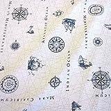 Werthers Stoffe Stoff Meterware Baumwolle weiß Seekarte
