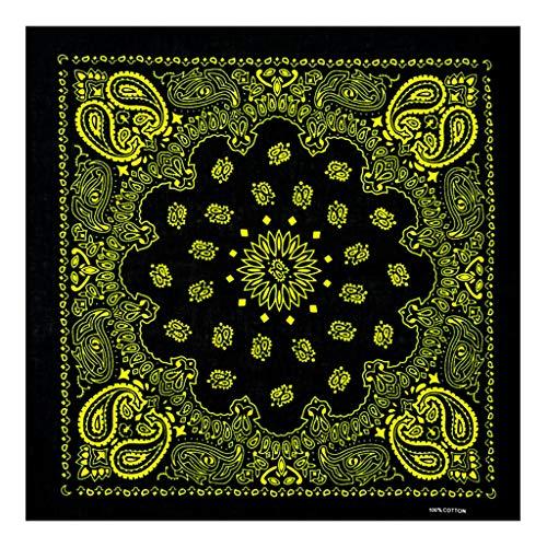 Floral Square-neck (Kofun Stirnband Bandana, Ethnische Farbige Sonnenblume Double Paisley Floral Unisex Baumwolle Square Schal Motorrad Stirnband Bandana Hip-Hop-Armband Krawatte 2#)