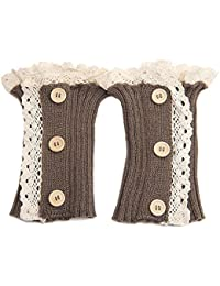 TININNA Mujer Mujeres Elegante Punta botón Crochet Medias piernas Calentadores (Calentadores kniestrümpfe Beige Caqui