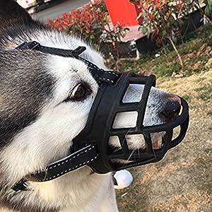 OMGO Muselière pour Chien en Silicone Douce Ajustable Muselière Anti Aboiement Anti Morsure Confortable Respirante en Noir 4 Tailles Disponibles