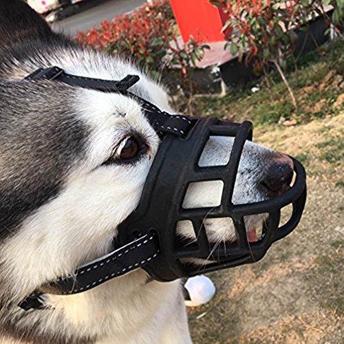 LA VIE Hunde Maulkorb Atmungsaktiv Silikon Anti Beißen Bellen Fressen Beisskorb Sicherheit Maulschlaufe Langlebig Verstellbar für Meistens Hunde Größe 02