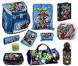Familando Avengers Schulranzen 15tlg. Set Scooli Campus Up mit Sporttasche Federmappe HULK THOR Marvel Helden AVEN8252