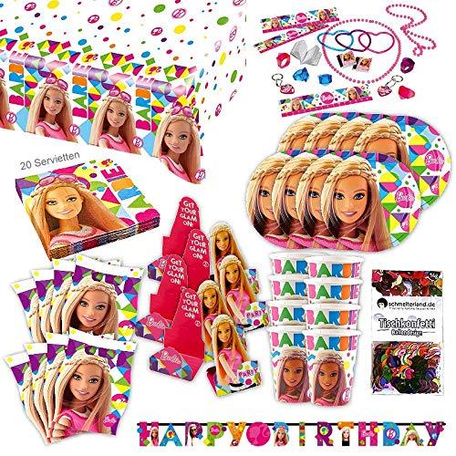 e Original Party Set XL 111-teilig für 8 Gäste Barbieparty Deko Partypaket ()