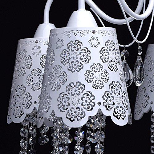 Deckenleuchte Kronleuchter weiß Metall Kristall klar Ø64cm - 5