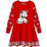 ZHUANNIAN Vestido de punto acanalado cálido para niña, diseño de reno, copos de nieve, estilo jersey de Papá Noel.