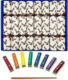 Ensemble de 8 rennes 8 notes musicales Craquelins de Noël en blanc par Crackers Ltd (Cat F1)