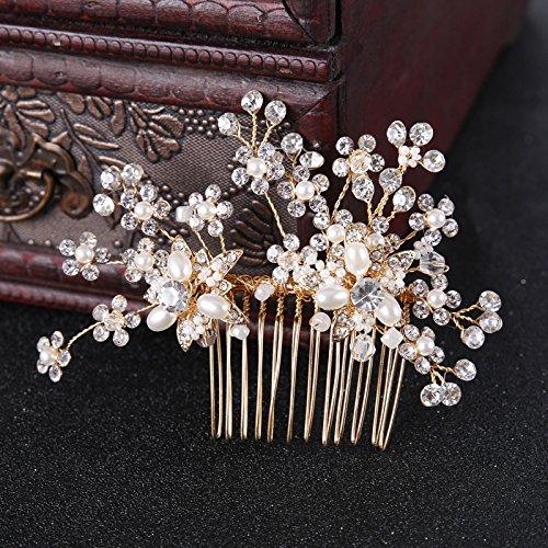 Anqeeso Brautschmuck Hochzeit Haarkamm, Künstliche Kristall Strass Perle Hochzeit Haarschmuck Kamm 10.5x7.5cm/Style 1