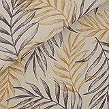 Schöner Deko Baumwolldruck Leaves in Leinenoptik mit