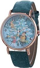 Altsommer Nett Verschiedenes Weihnachten Muster Kinder Uhren für Damen Herren Kinder Leder Armbanduhren,Quartz Analog Armbanduhr Lederarmband Uhr,0,6 cm Zifferblatt Dicke