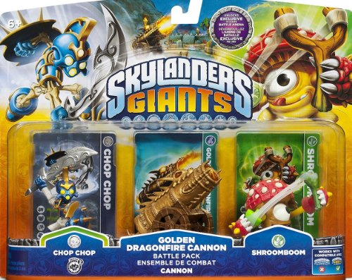 Skylanders Giants Exclusive Golden Dragonfire Cannon Batlle Pack (Includes Chop Chop, Gold Cannon, Shroomboom) XBOX, PS3, Wii & 3DS