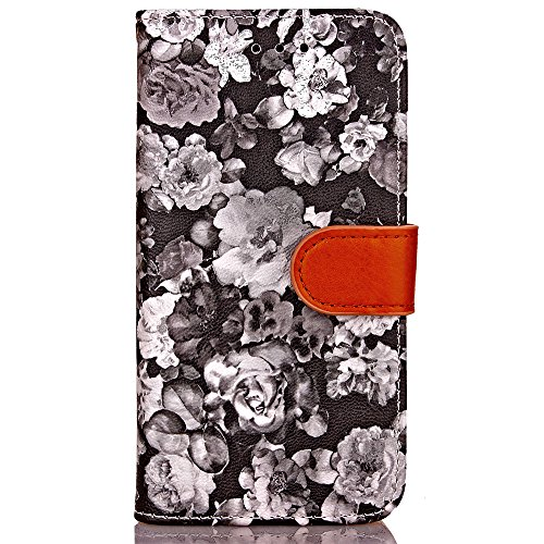 iPhone 7 Coque Glitter,iPhone 7 Coque Souple,iPhone 7 Coque Cuir,iPhone 7 Coque Fleur Etui,iPhone 7 Leather Case Wallet Flip Protective Cover Protector,iPhone 7 Coque Portefeuille PU Cuir Etui,EMAXELE Flower 4