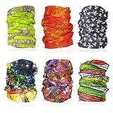 Multiuso 6pcs vari unisex designs-absorbs sudore, protezione UV, 12-in-1fascia per sport outdoor–da indossare come copricollo, sci, retina per capelli, bandana, sciarpa e more-for uomini e donne