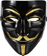 MVR Traders Plastic Fawkes Mask Anonymous VIP Edition Face-Mask Perfect Fit Cosplay Protest V for Vendetta DC Comics (Black)