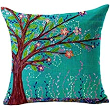 Sannysis® Cojín árbol Cubiertas; Cama Coche Impreso Sofá vintage almohada (marrón)