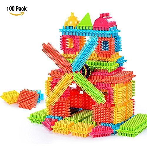 NEEDOON 100pcs Kleinkind Spielzeug Kunststoff Konstruktions Bausteine für Kinder Kreatives Spielzeug (Schwarze Giraffe Und Stoff Weiße)