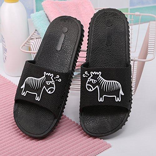 DogHaccd pantofole,L'estate uomini e donne matura cool ciabatte di plastica spessa sweet home camera da letto bagno antiscivolo di pantofole Nero2