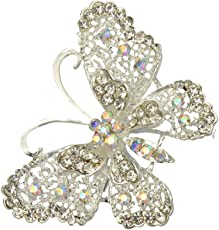 IJARP Bridal Silver Plated Crystal Butterfly Brooch Broach Pin Breastpin Women Jewelry