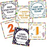 #6: WOBBOX Baby Monthly Milestone Cards, Record 0-12 Months Growth and Other Milestones Cards, Baby Shower Gift Scrapbook Photo Keepsake Monthly Age Markers Card (21 Pcs )