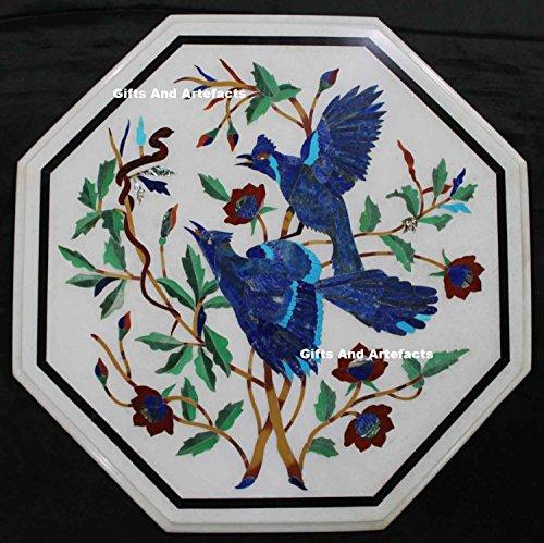 53,3cm weiß Marmor Lapis Lazuli Stein Inlay Couchtisch Top Floral Design
