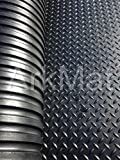 10 x Black Checker Pattern Rubber Stable Floor Mats | 12mm Thick | 6ft x 4ft | 1.82 x 1.22m | Matting Suitable for Horses, Ponies or Livestock | Rubber Flooring also Suitable for Gym