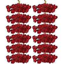 niceEshop(TM) Lot de 12 Mini Bouquets de Roses Artificielles pour la Décoration de Mariage et de Maison (Rouge Foncé)