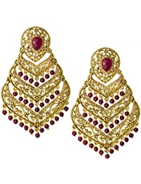 Spargz Antique Wedding Wear Gold Plated Maroon Beads With AD Stone Filigree Chandelier Earrings For Women AIER...