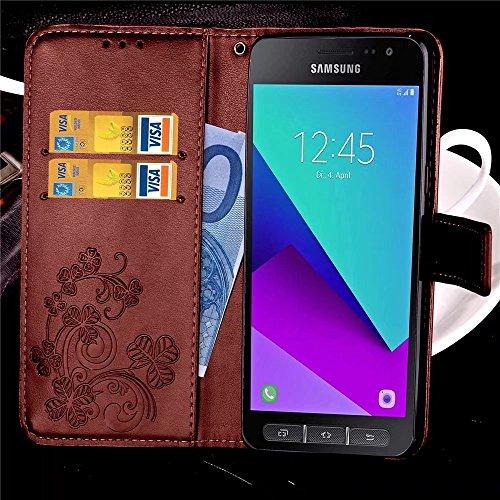 LEMORRY Samsung Galaxy Xcover 4 / G390F Custodia Pelle Cuoio Flip Portafoglio Borsa Sottile Bumper Protettivo Magnetico Morbido Silicone TPU Cover Custodia per Galaxy Xcover 4 / G390F, Clover fortunat Marrone