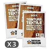 3Stück Beutel Färbetechniken Textil–Beige–Beizen Universal für Kleidung und natürliche Stoffe