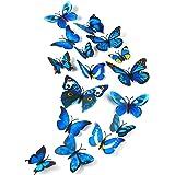 TUPARKA 36 stuks 3D vlinders decoratie vlinder wanddecoratie vlinder muursticker 3D wandtatoo vlinders balkon decoratie (blau
