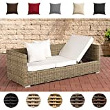 CLP Poly-Rattan Lounge-Sofa Solano 5 mm, ALU-Gestell, 3 er Sofa/Sonnenliege Rattanfarbe: Natura, Kissenfarbe: Cremeweiß