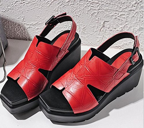 Beauqueen OL piattaforma piattaforma cuffia casual pelle traspirante classico Slingbacks Fibbia Peep Toe Sandali Sister's Slim Donna delle scarpe da tennis EU Size 34-42 Red
