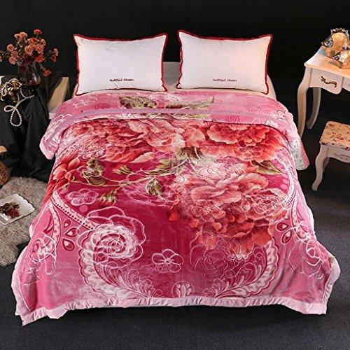YAOHAOHAO Rosa Blumenmuster Herbst und Winter Modelle Crystal Zudecken war Decke individuelle Umweltschutz Drucken (195 * 225 cm)